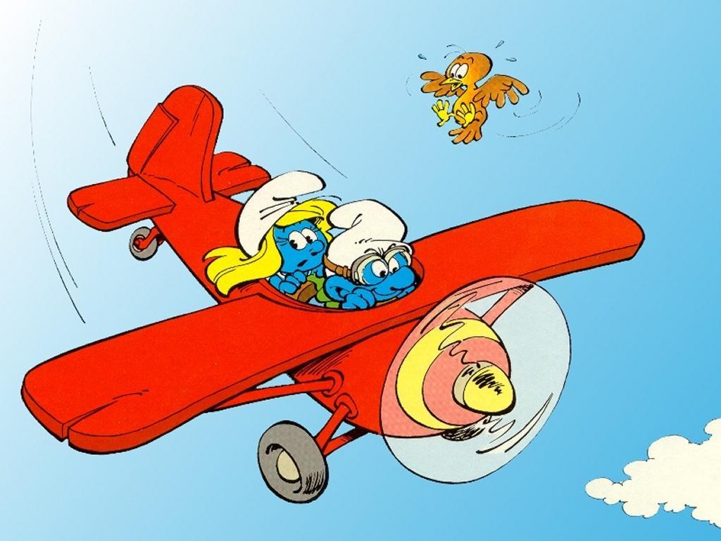 La schtroumpfette et le schtroumpf aviateur - Le grand schtroumpf et la schtroumpfette ...